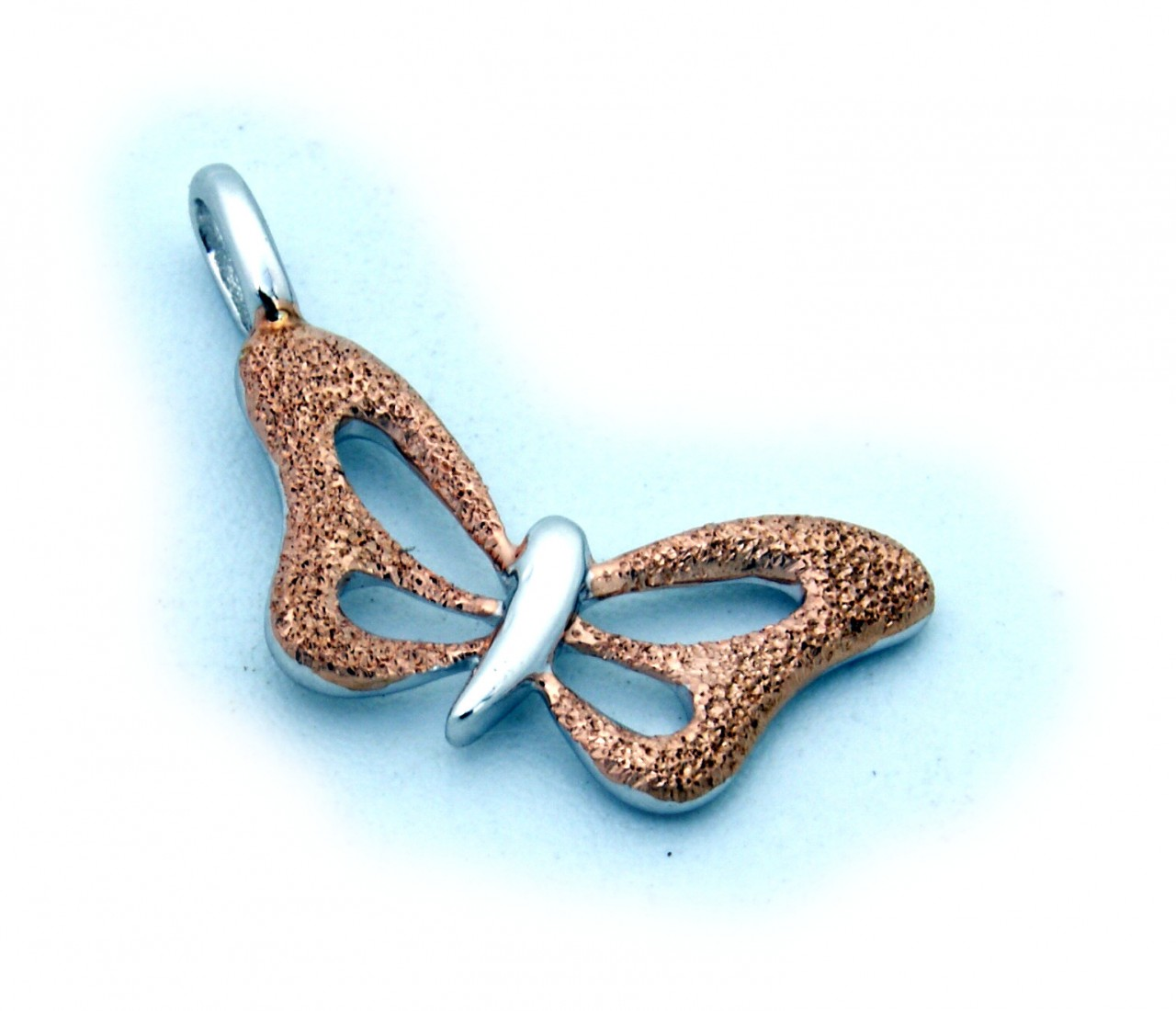 Neu Anhänger Schmetterling echt Silber 925 Sterlingsilber rot vergoldet diamantiert