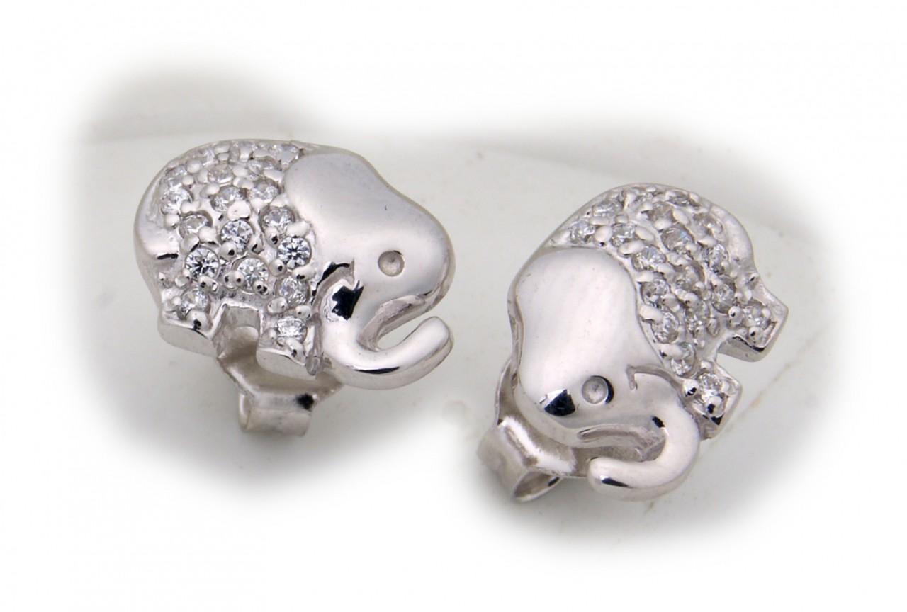 Ohrringe Stecker Elefant echt Silber 925 Sterlingsilber Zirkonia Ohrstecker