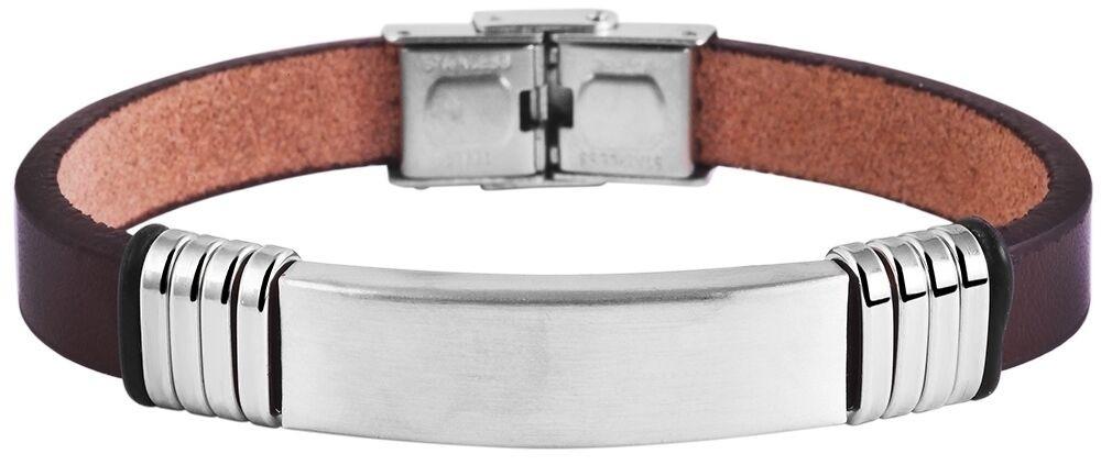Herren Armband Edelstahl poliert Echt Leder braun inkl. Gravur verstellbar ID Ba