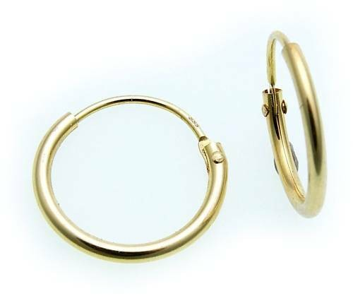 Ohrringe Creolen Gold 585 Glanz 13 mm Rohrform Gelbgold Unisex