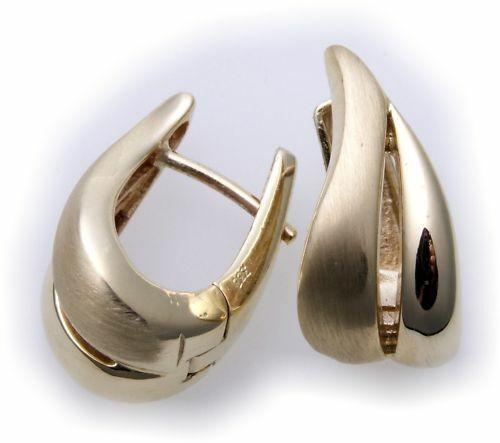 Damen Ohrringe Klapp Creolen massiv echt Gold 333 tmatt 8kt Gelbgold