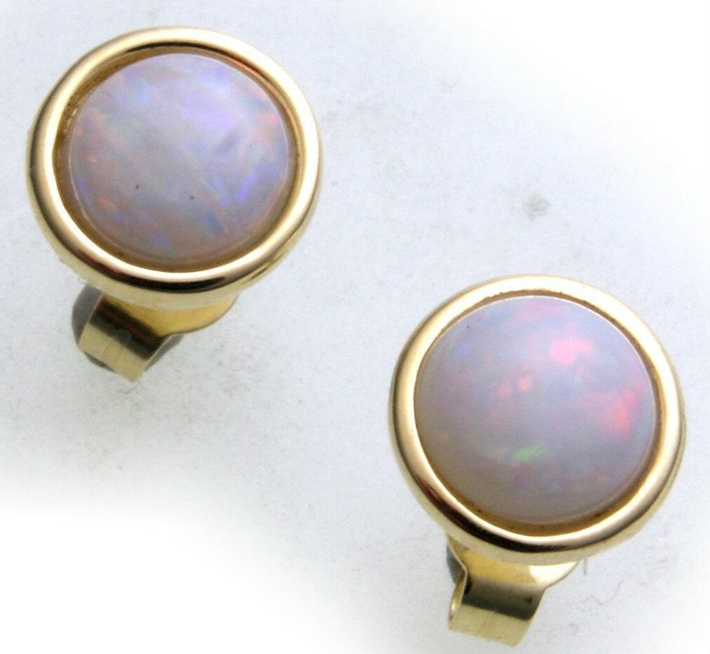 Damen Ohrringe Stecker weißer Opal Gold 333 Damen Ohrstecker Gelbgold Milchopal