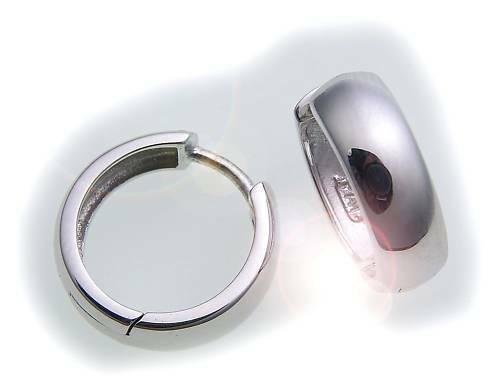 Damen Ohrringe Klapp Creolen Weißgold 333 er- Gold Glanz 14 mm