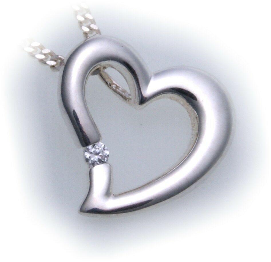 Anhänger Herz Zirkonia echt Silber 925 Neu gute Qualität Damen Sterlingsilber