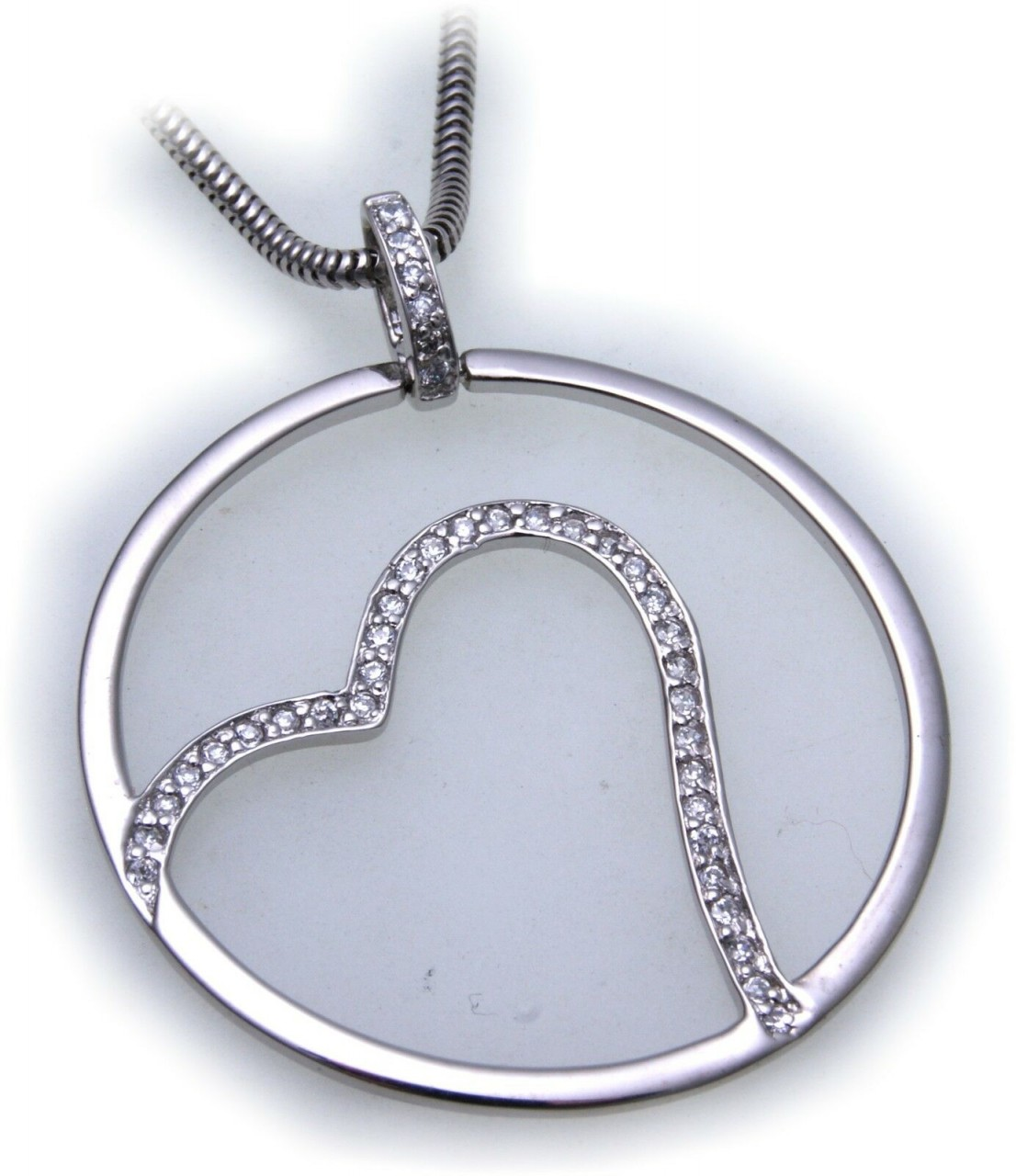 Anhänger Herz echt Silber 925 Zirkonia Herzform Sterlingsilber Unisex