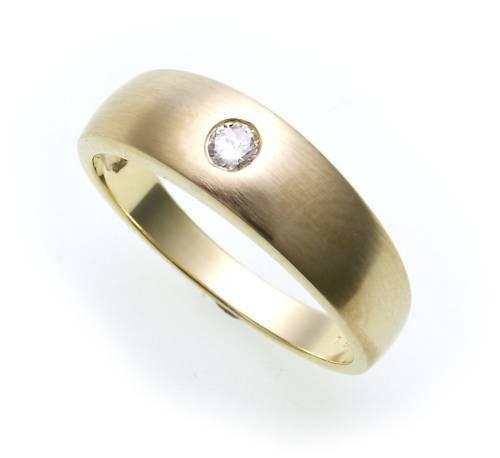 Damen Herren Ring Brillant 0,10ct echt Gold 585 teilmat Gelbgold SI Diamant