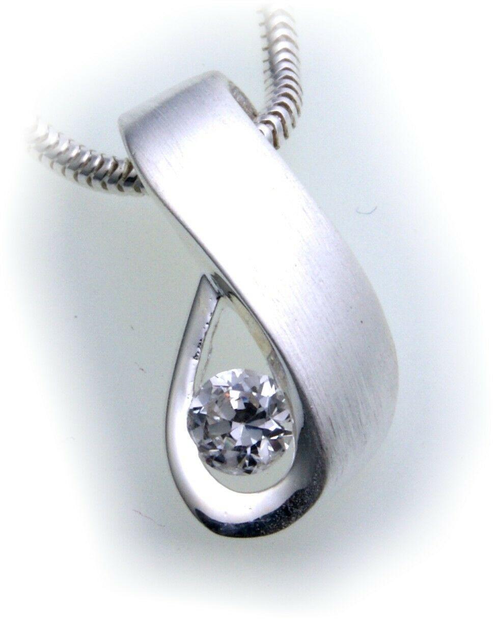 exkl. Anhänger echt Silber 925 mit Zirkonia teilmatt Qualität Sterlingsilber