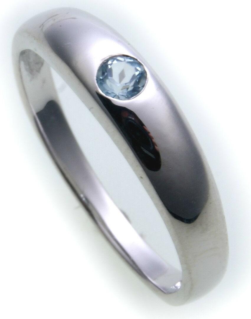 Bestpreis Damen Ring echt Weißgold 750 Topas 18 karat Gold Qualität Blautopas