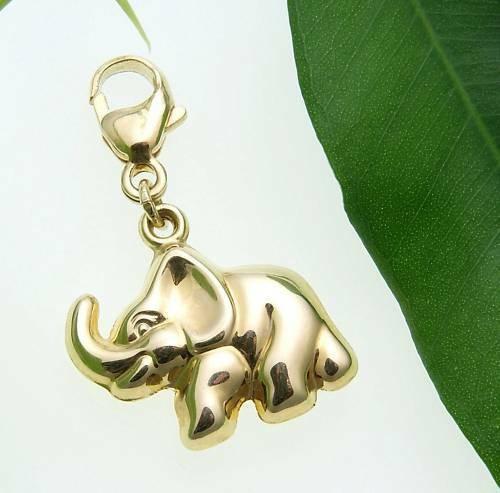Charm Anhänger Einhänger Elefant 3D Glanz 333 Gold Gelbgold Qualität Unisex