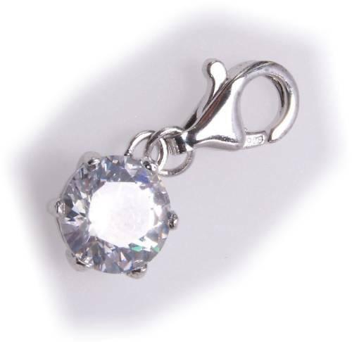 Charm rund Chaton Zirkonia Silber 925 Einhänger Sterlingsilber Qualität