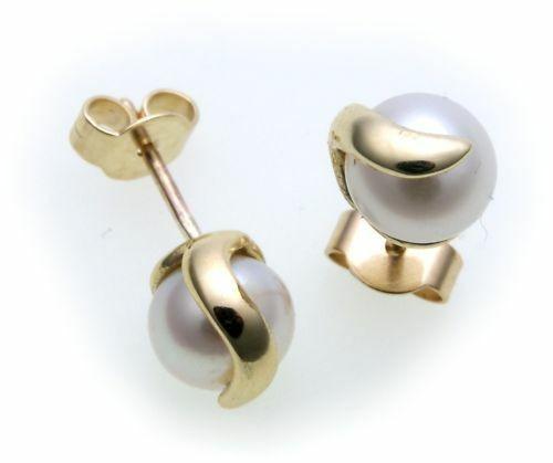 Ohrringe echt Zuchtperlen 7,5 mm Gold 333 Perle Gelbgold Perlen Ohrstecker 8kt