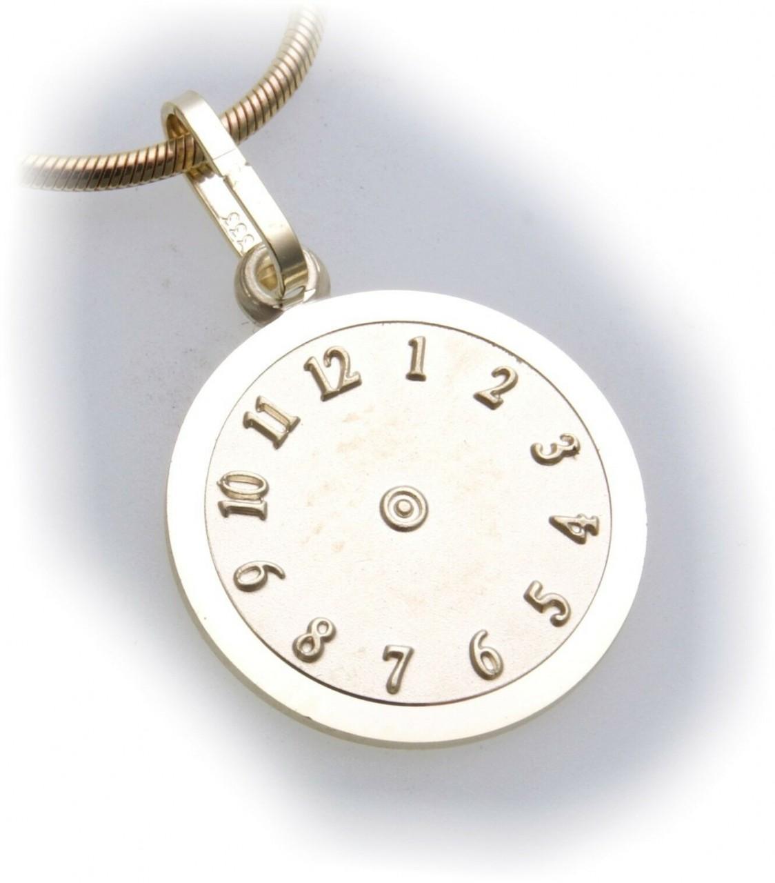 Anhänger Taufuhr echt Gold 333 Taufe Gelbgold Kinder Tauf Uhr inkl. Gravur