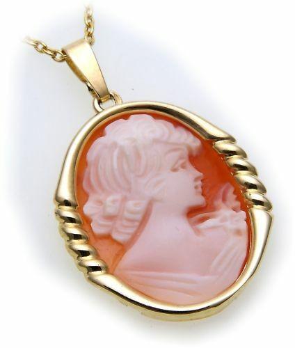 Damen Anhänger mit Muschelgemme echt Gold 585 18k Gemmenanhänger Gelbgold Granat