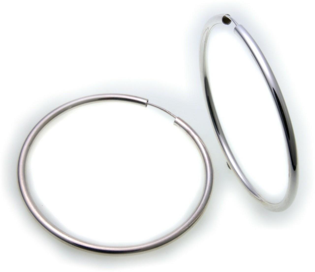 Damen Ohrringe XL Creolen Silber 925 Sterlingsilber 60 mm Rohrform Rohrcreolen