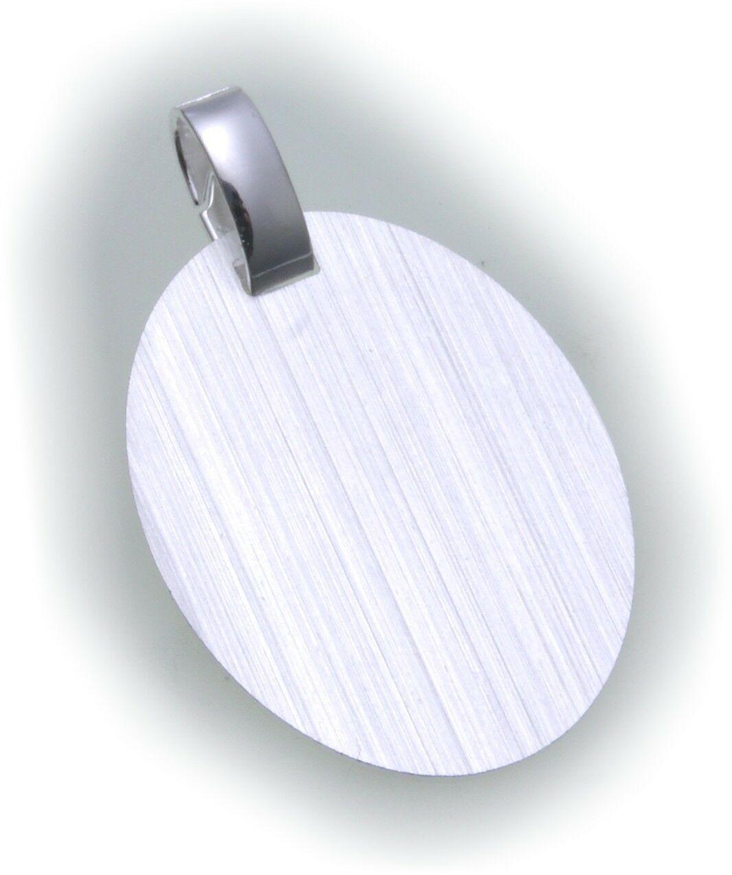 Anhänger Gravurplatte oval echt Silber 925 incl. Gravur Sterlingsilber Unisex