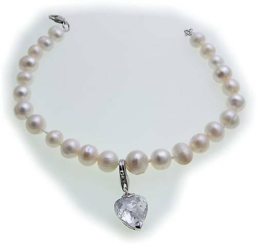 Armband Perlen mit Einhänger Herz echt Silber 925 Sterlingsilber Damen