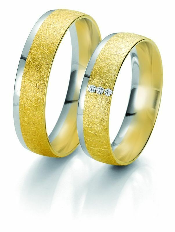 Trauringe Breuning Rainbow Collection 6233/6234 in 585 Gold weiß gelb 14 kt