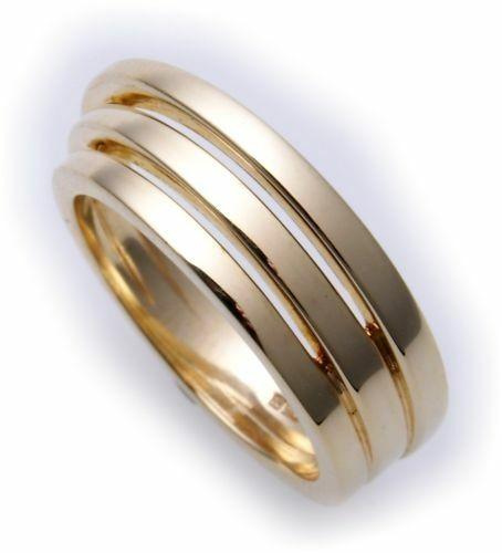 Damen Ring echt Gold 375 poliert massiv 3 teilig 9kt Gelbgold Qualität
