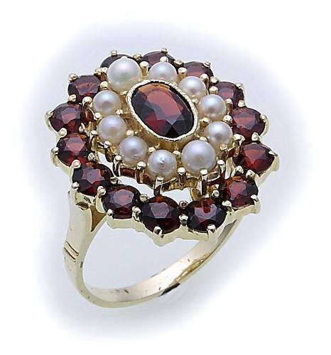 Damen Ring m. Granat u. Perlen in Gold 585 Gelbgold Granatring 8913/5GR.ZP
