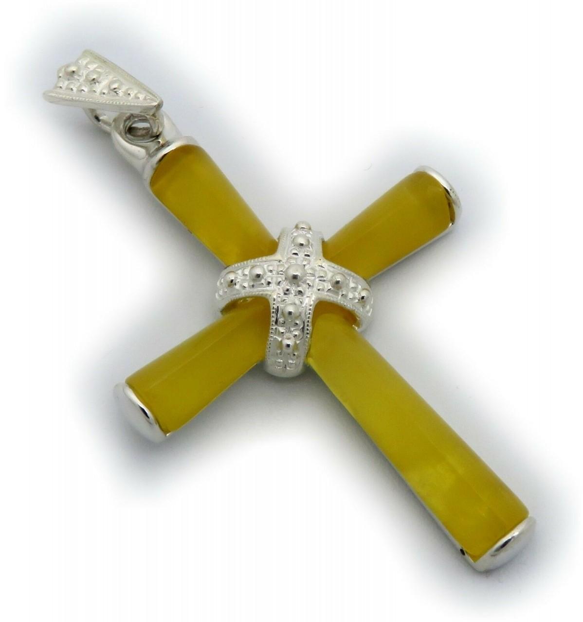 Anhänger echt Bernstein weiß Kreuz mit Sterlingsilber 925 Naturbernstein Silber