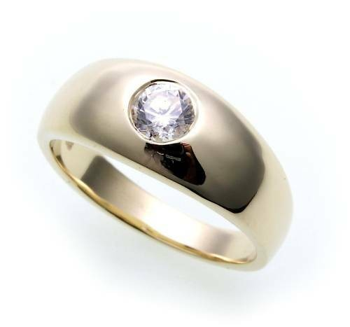 Damen Herren Ring Brillant 0,25ct wess/si echt Gold 585 14kt Gelbgold Unisex