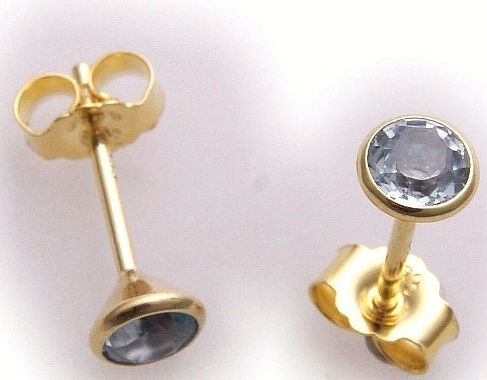 Neu Ohrringe Gold 333 8 karat Gelbgold Topas 4,5 mm Ohrstecker Stecker Blautopas