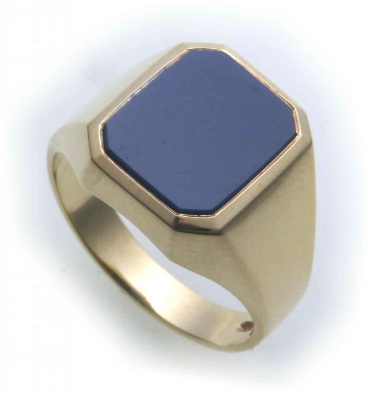 Herren Ring echt Gold 585 echt Lagenstein Siegelring 14karatt Gelbgold blau Neu