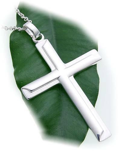 Anhänger großes Kreuz echt Silber 925 52 mm teilmatt Sterlingsilber Unisex Neu