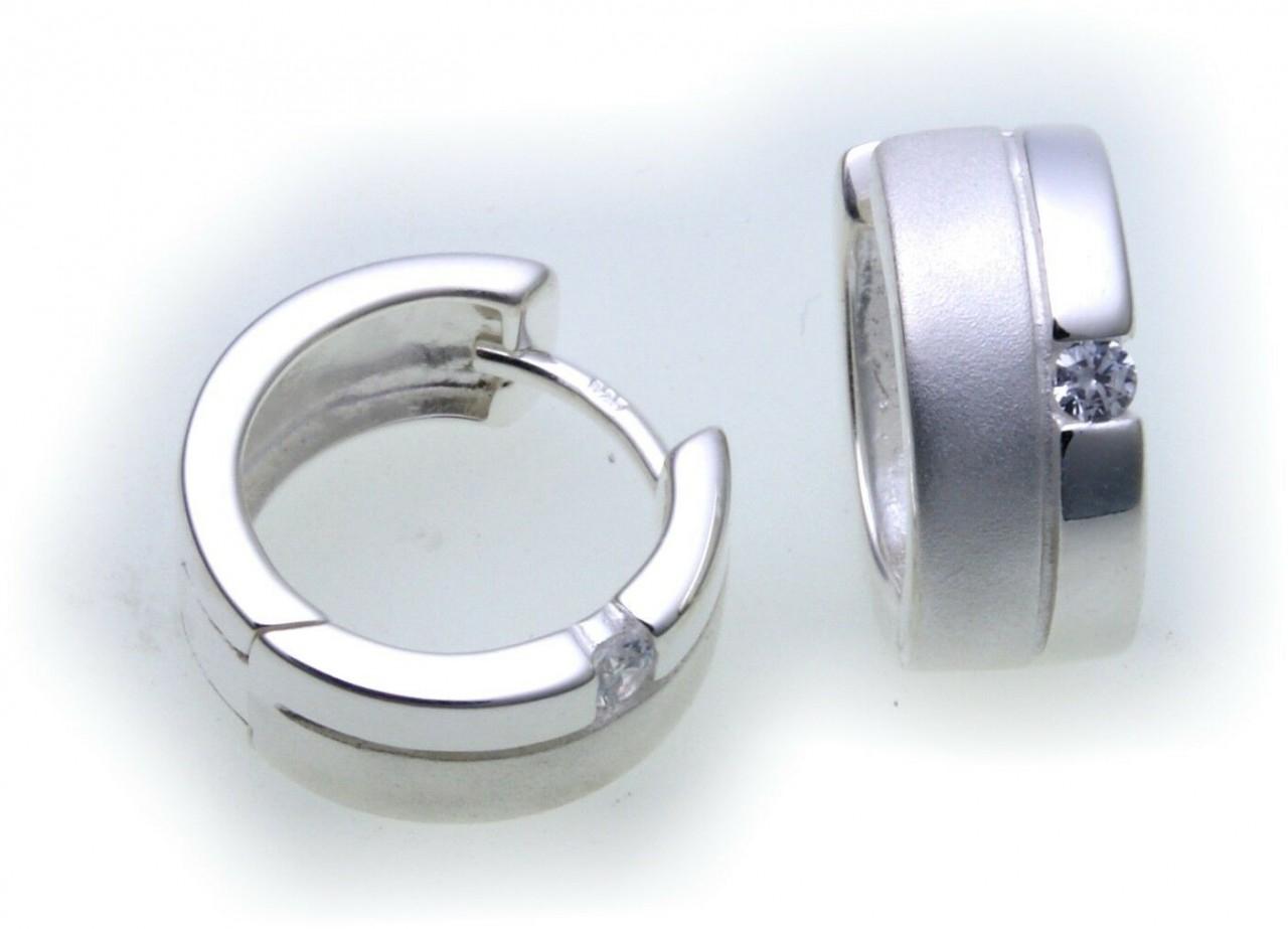 Ohrringe Klapp Creolen Zirkonia Silber 925 Sterlingsilber Qualität