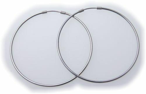 Ohhringe Creolen aus Titan Glanz teilmatt 57 mm