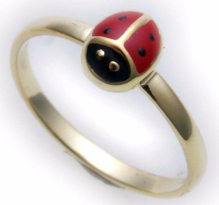 Neu Kinder Ring Marienkäfer gelackt echt Gold 333 Gelbgold Qualität 8karat Käfer