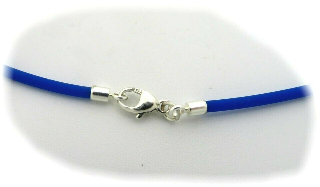 Halskette blauer Kautschuk 2,0 mm Silber 925 40 bis 55cm Sterlingsilber Blau Neu