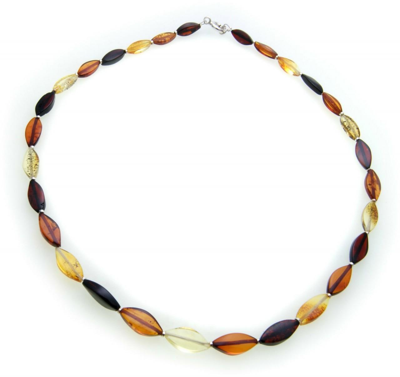 Damen Collier echt Bernstein aus der Ostsee Navette Halskette Qualität AP10