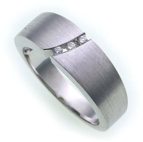 Damen Ring Brillant 0,05ct echt Weißgold 585 mattiert Gold 585er_ SI