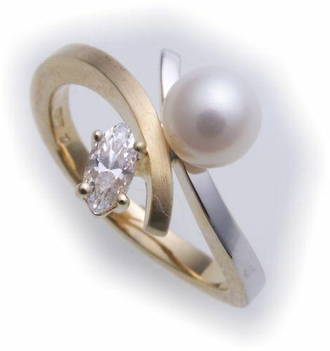 Damen Ring Zirkonia echt Gold 585 Perle 6,5 mm Bicolor Gelbgold 14k