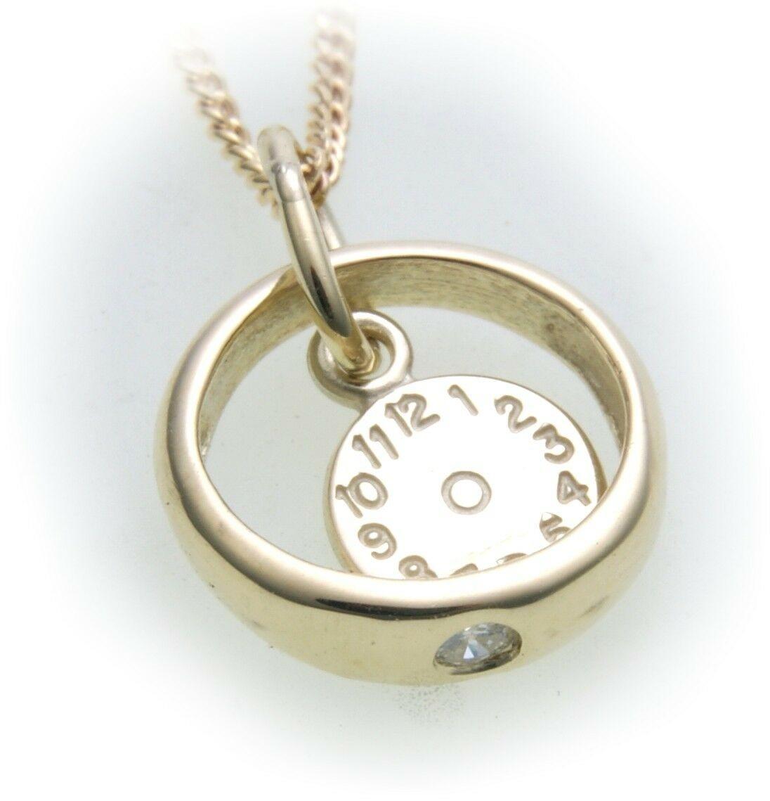 Taufring mit Uhr Zirkonia 585 Gold poliert ohne Kette 14kt Taufe Baby Qualität