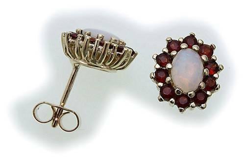 Damen Ohrringe m. Granat und Opal in Gold 333 Granatohrringe Gelbgold Ohrstecker