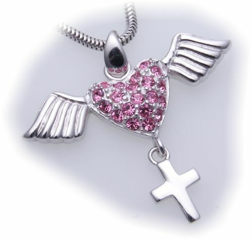 Anhänger Herz Flügel Kreuz Zirkonia echt Silber 925 Sterlingsilber