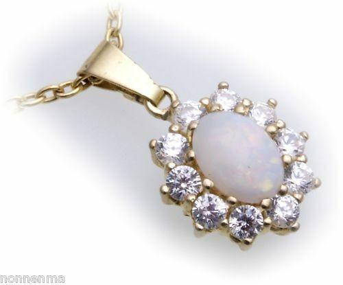 Anhänger Gold 585 echt echt Opal 7x5 mm 10 Zirkonia Gelbgold Damen