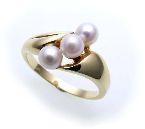 Neu Damen Ring echt Gold 333 8 karat Perlen Glanz Gelbgold Zuchtperle Qualität