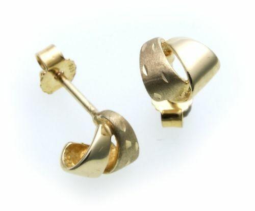 Damen Ohrringe Stecker echt Gold 585 teilmatt. günstig Gelbgold