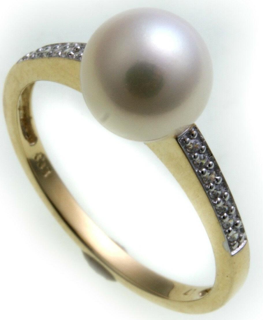 Damen Ring Gelbgold 333 8kt Perlen Zirkonia Gold Zuchtperlen Perle Qualität