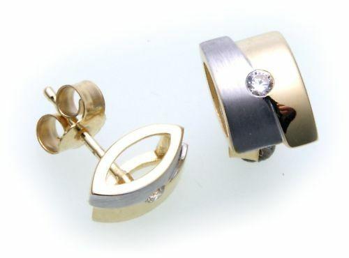 Damen Ohrringe Ohrstecker Gold 585 Brillant 0,06ct teilrhod Gelbgold Diamant