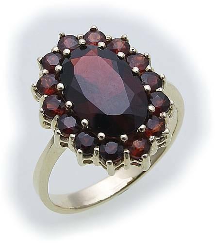 Damen Ring m. Granat in Gold 333 Granatring alle Weiten Gelbgold Qualität 8052/