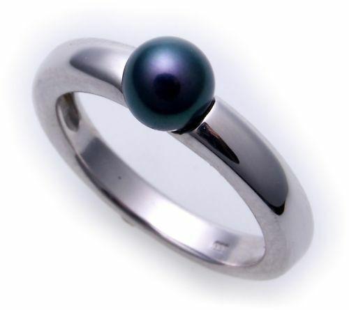 Damen Ring echt Weißgold 585 Perle grau 6,5 mm 14kt Gold Perlen Qualität