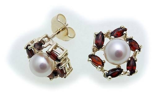 Damen Ohrringe Granat Zuchtperle Perlen in Gold 585 Gelbgold Ohrstecker 6975/5G