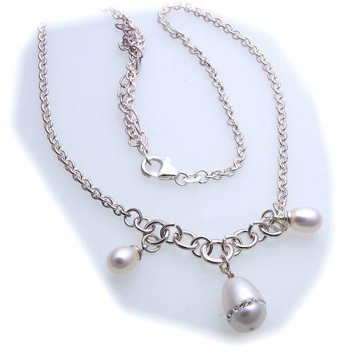 Damen Collier Perle echt Silber 925 Kette 42 cm Sterlingsilber Perlen