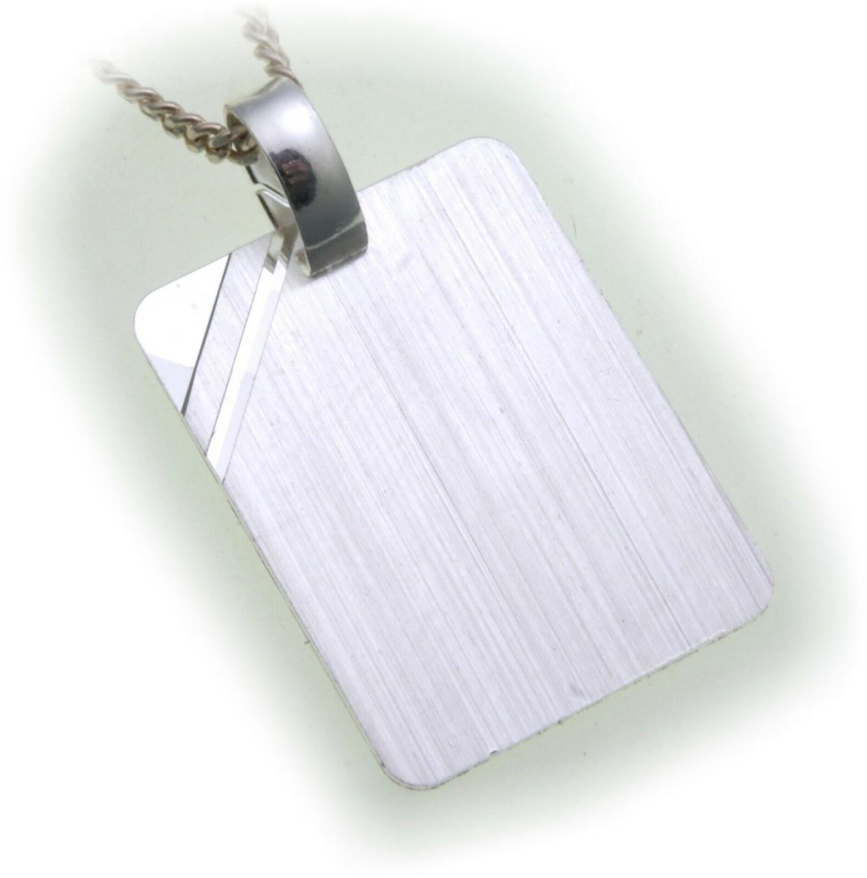 Gravurplatte Rechteck Silber 925 incl. mit Gravur mattiert Sterlingsilber Unisex