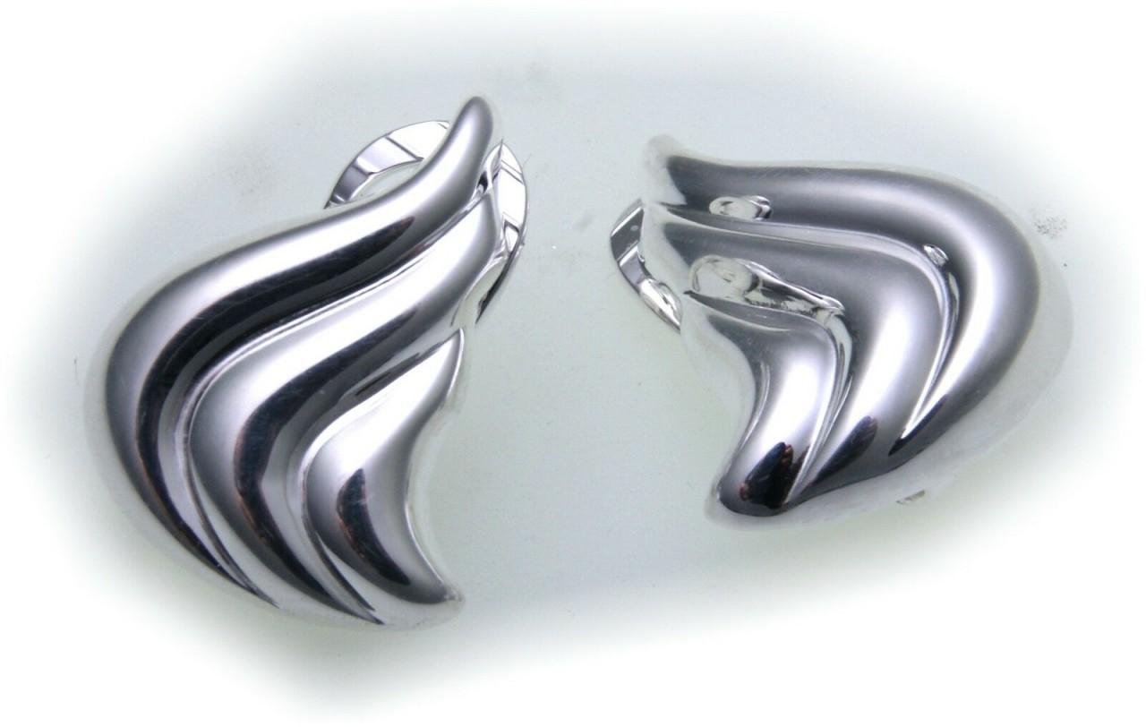exkl. Ohrringe echt Silber 925 Clip poliert Ohrclip Muschel Sterlingsilber Damen