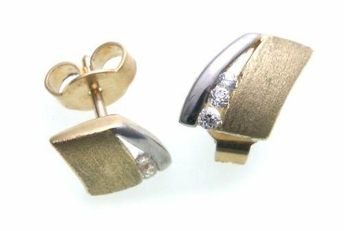 Damen Ohrringe Ohrstecker Gold 585 Zirkonia teilmatt.-. Gelbgold Stecker N6115 Z